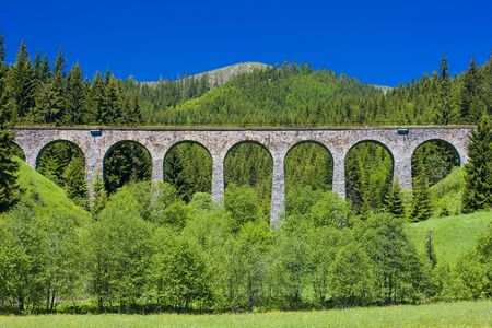 viaducts: railway viaduct near Telgart, Slovakia Stock Photo
