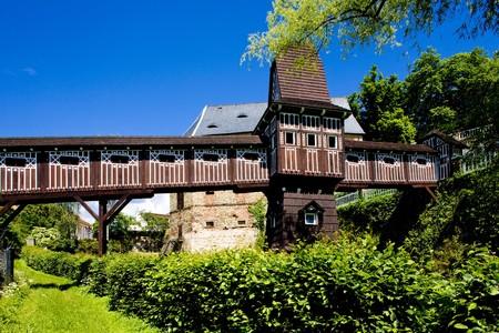nad': covered wooden bridge by Dusan Jurkovic, Nove Mesto nad Metuji, Czech Republic Stock Photo