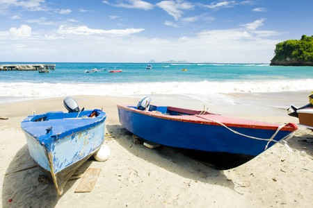 seascapes: fishing boats, Sauteurs Bay, Grenada Stock Photo