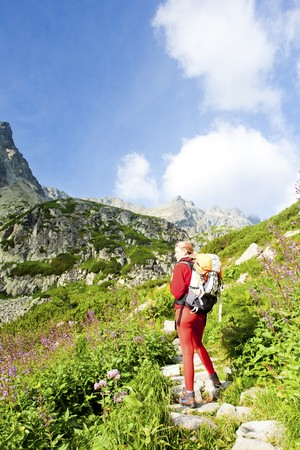 tatry: woman backpacker in Great Cold Valley, Vysoke Tatry (High Tatras), Slovakia Stock Photo