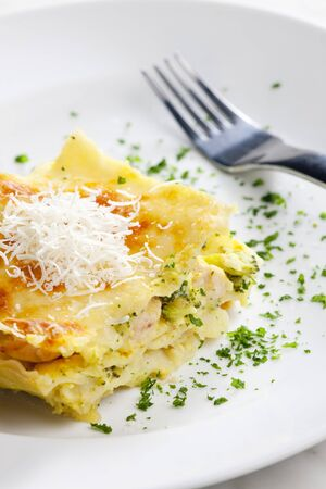 lasagne with broccoli and chicken meat photo