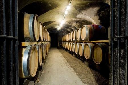 casks: Ch�teau de Cary Potet (wine cellar), Buxy, Burgundy, France Stock Photo
