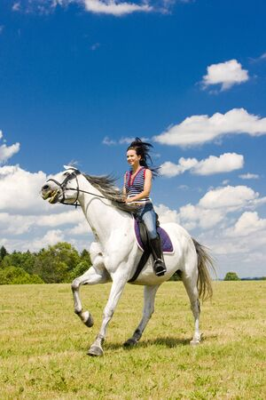 trotting: equestrian on horseback