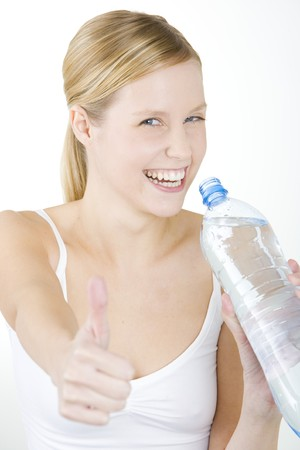 portrait of woman with bottle of water photo