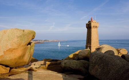 Pors Kamor lighthouse, Ploumanach, Brittany, France photo