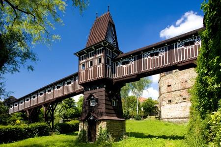 buidings: covered wooden bridge by Dusan Jurkovic, Nove Mesto nad Metuji, Czech Republic Stock Photo