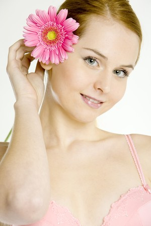 portrait of woman with gerbera Stock Photo - 7468747