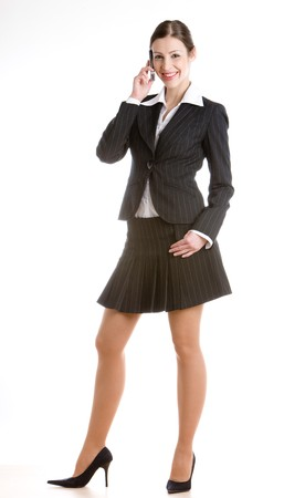 formal clothing: telephoning businesswoman Stock Photo
