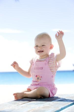 barbados: toddler on the beach, Barbados, Caribbean