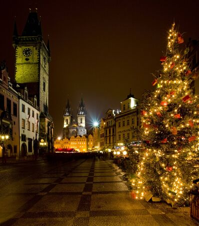 at town square: Old Town Square at Christmas, Prague, Czech Republic