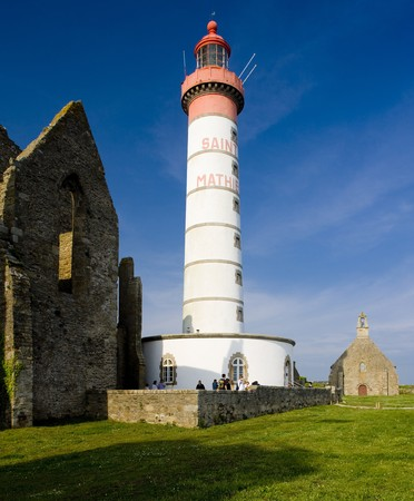 friaries: lighthouse and ruin of monastery, Pointe de Saint Mathieu, Brittany, France