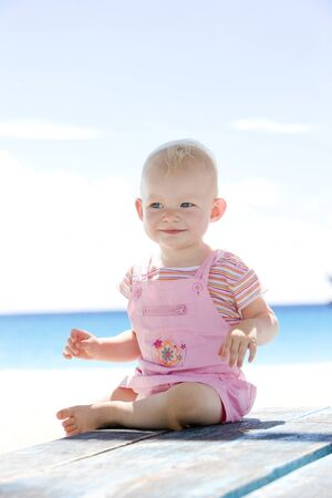 toddler on the beach, Barbados, Caribbean Stock Photo - 7640784