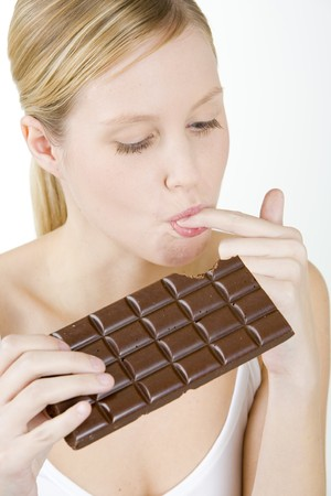 portrait of woman with chocolate photo