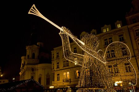 artificial lights: Old Town Square at Christmas time, Prague, Czech Republic