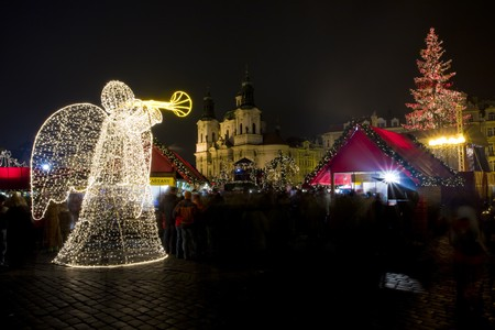christmas atmosphere: Old Town Square at Christmas time, Prague, Czech Republic