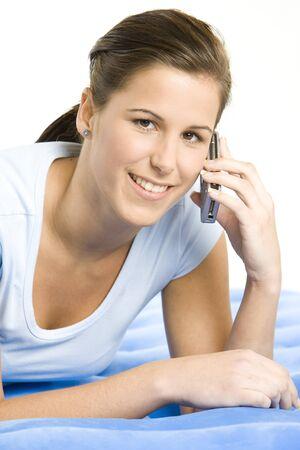telephoning: portrait of telephoning woman