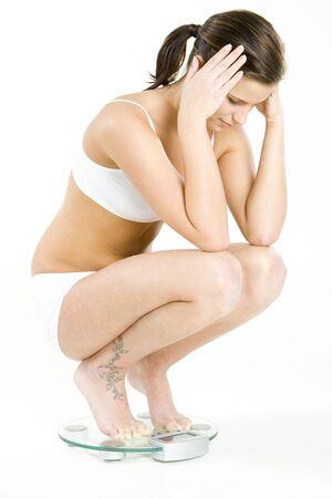 knickers: woman wearing underwear on weight scale Stock Photo