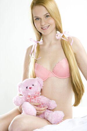 woman wearing underwear with teddy bear photo