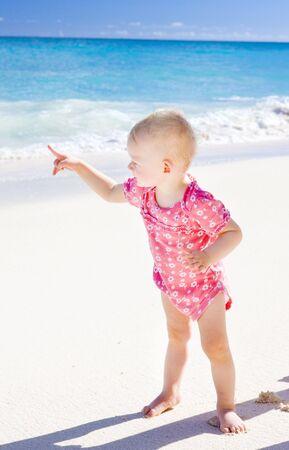 toddler on the beach, Foul Bay, Barbados, Caribbean photo