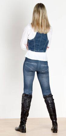 waistcoat: standing woman wearing fashionable boots