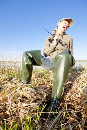 fishing woman photo