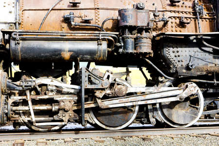 steam locomotives: detail of steam locomotive, Colorado Railroad Museum, USA