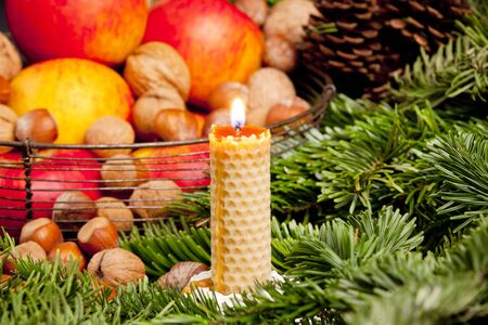 still lifes: Christmas still life with a candle