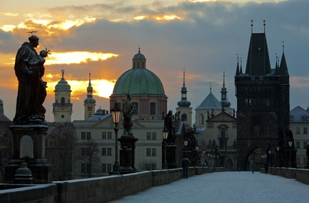 auroral: Charles Bridge in winter, Prague, Czech Republic