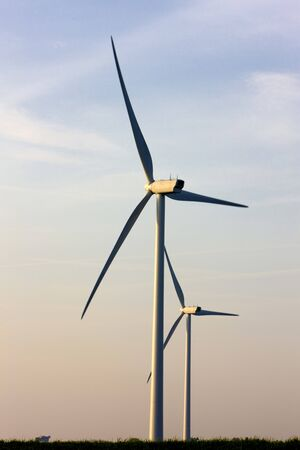 windy energy: wind turbines, Zeeland, Netherlands