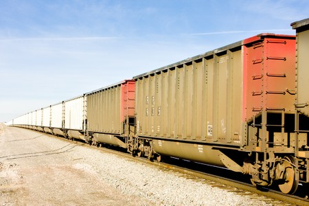 goods train: freight train, Colorado, USA