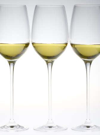 still lifes: wineglasses with white wine