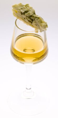 chees: glass of Tokai wine with roquefort chees Stock Photo
