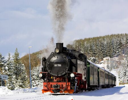 traction engine: steam train, Oberwiesenthal - Cranzhal (Fichtelbergbahn), Germany Stock Photo