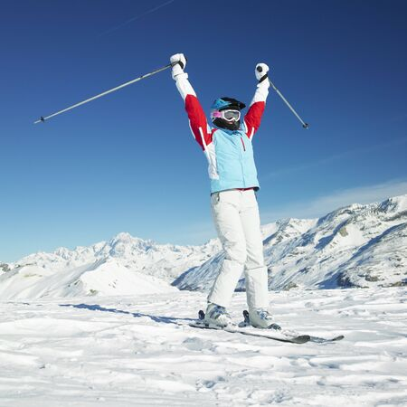 woman skier, Alps Mountains, Savoie, France Stock Photo - 8217749
