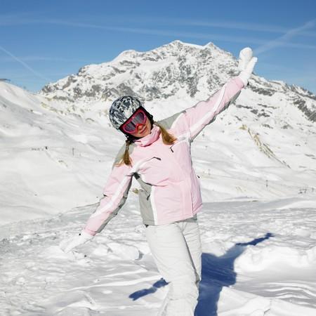 woman skier, Alps Mountains, Savoie, France Stock Photo - 8217741