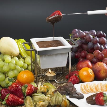 bodegones: fondue de chocolate  Foto de archivo