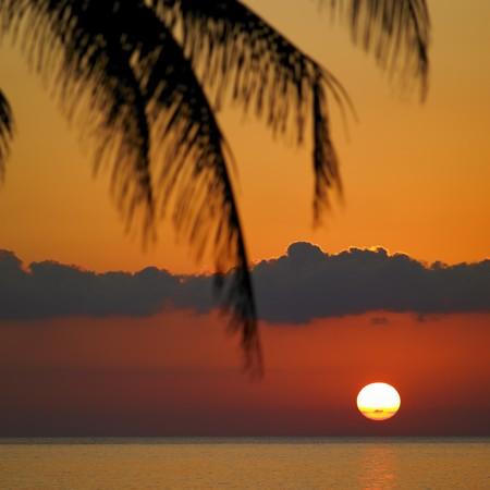 auroral: sunset over Caribbean Sea, Mar�a la Gorda, Pinar del R�o Province, Cuba Stock Photo