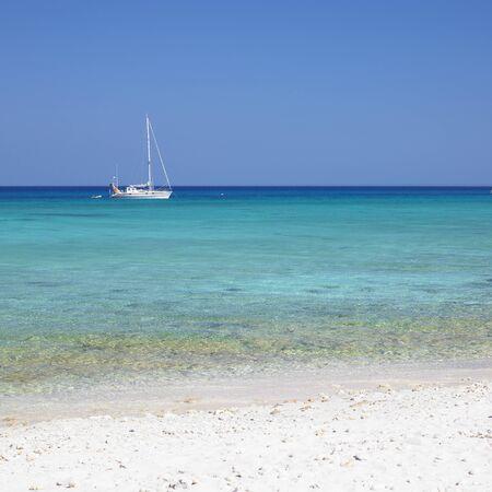 pinar: yacht, Caribbean Sea, Maria la Gorda, Cuba Stock Photo
