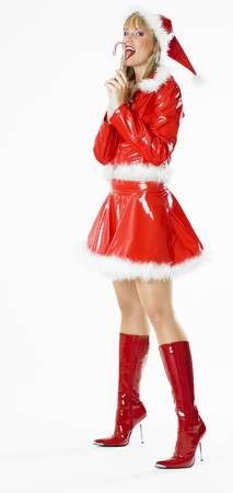 festival moments: Santa Claus with Christmas lollypop Stock Photo