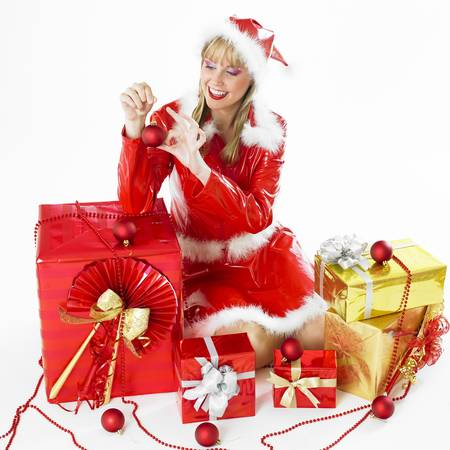 festival moment: Santa Claus with Christmas presents