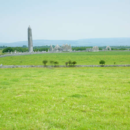 friaries: ruins of Kilmacduagh Monastery, County Galway, Ireland Stock Photo