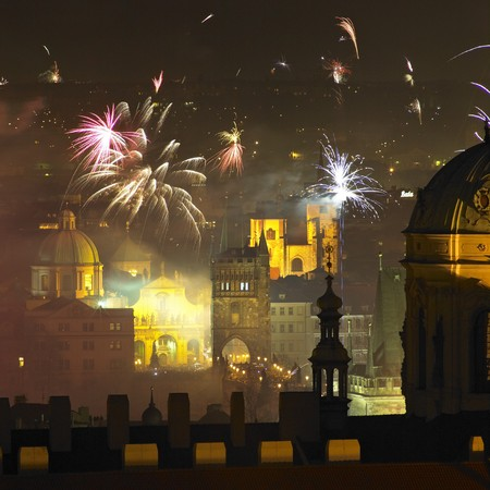 artificial lights: Charles bridge, New Years Eve in Prague, Czech Republic Stock Photo