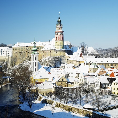 krumlov: Cesky Krumlov in winter, Czech Republic
