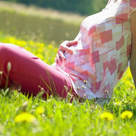 mamma: pregnat woman on meadow