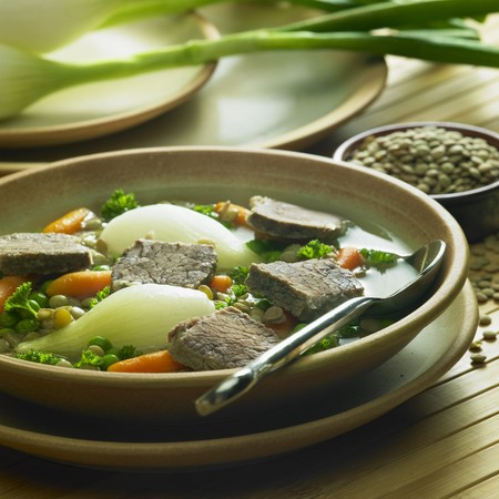 nourishment: beef soup with vegetables and lentils