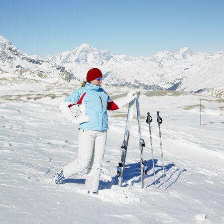 woman skier, Alps Mountains, Savoie, France Stock Photo - 8336055