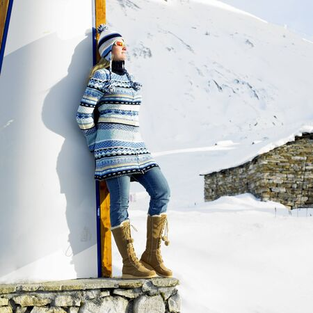 pullovers: woman in winter mountains Stock Photo