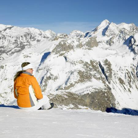 woman in winter mountains, Alps Mountains, Savoie, France Stock Photo - 8336057