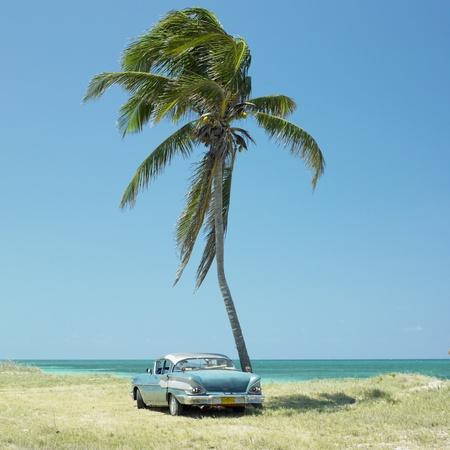voiture ancienne: vieille voiture, Playa del Este, Province de la Havane, Cuba Banque d'images