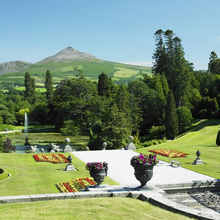 eire: Powerscourt Gardens, Sugar Loaf Mountain at the background, County Wicklow, Ireland Stock Photo